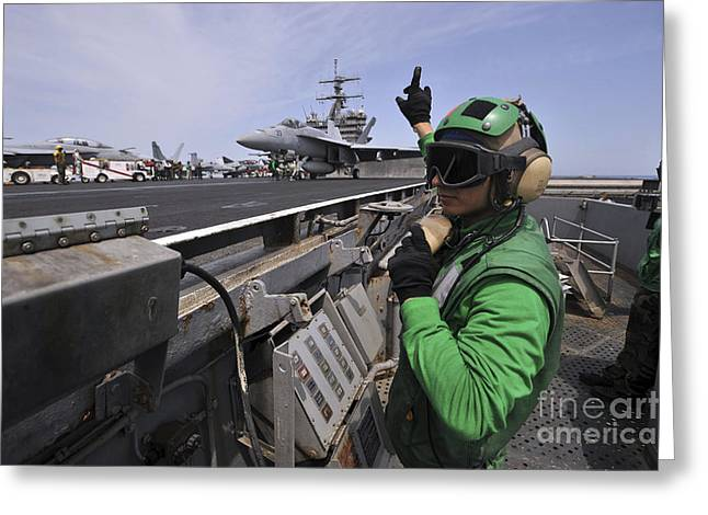 Enterprise Photographs Greeting Cards - Aviation Boatswain's Mate Signals Greeting Card by Stocktrek Images