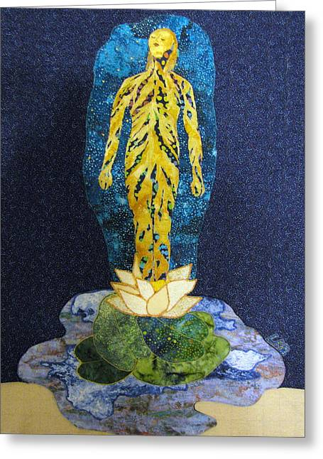 Female Figures Tapestries - Textiles Greeting Cards - Awakening Greeting Card by Lynda K Boardman