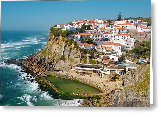 Sea Shore Greeting Cards - Azenhas do Mar Greeting Card by Carlos Caetano