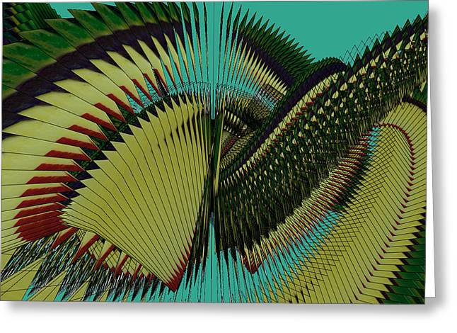 Geometric Art Greeting Cards - Aztec Wings Greeting Card by Clair Dunn