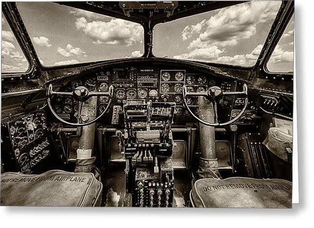 Military Airplanes Photographs Greeting Cards - Cockpit of a B-17 Greeting Card by Mike Burgquist