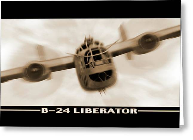 Sepia Digital Art Greeting Cards - B 24 Liberator Greeting Card by Mike McGlothlen