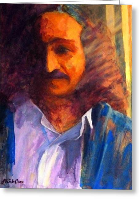 Baba Paintings Greeting Cards - Baba at Window Greeting Card by Joe DiSabatino