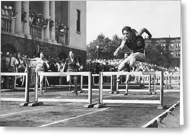 Hurdles Greeting Cards - Babe Didrikson High Hurdles Greeting Card by Underwood Archives