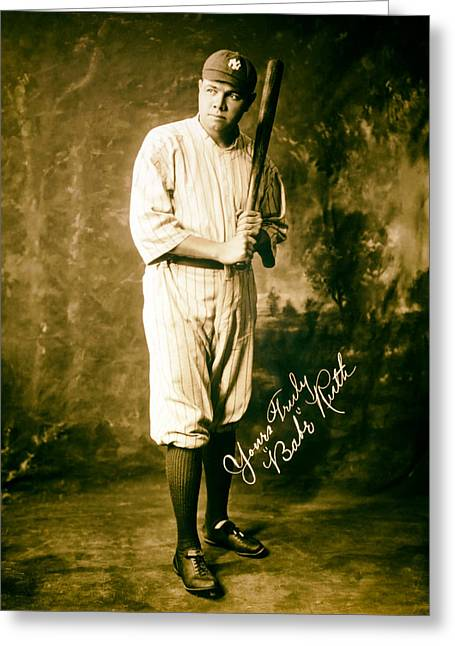 Autographed Baseball Greeting Cards - Babe Ruth 1920 Greeting Card by Mountain Dreams