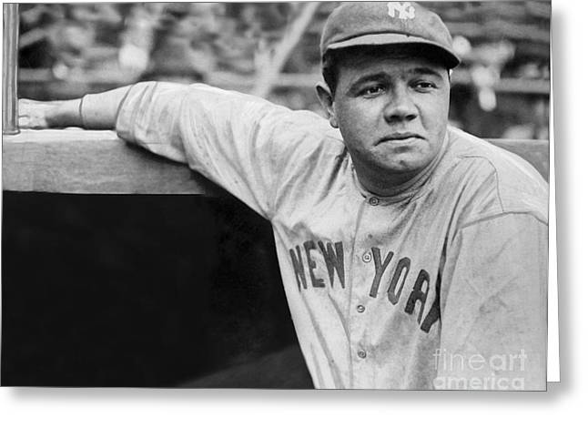 Ny Greeting Cards - Babe Ruth Greeting Card by MMG Archives