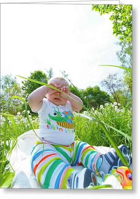 Baby Boy In A Park Greeting Card by Wladimir Bulgar