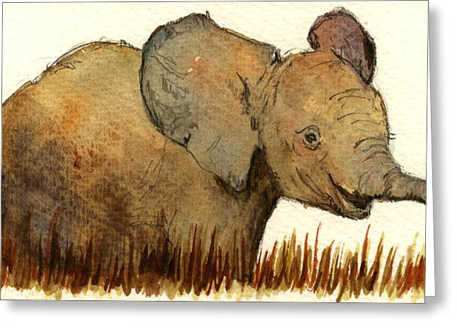 Mom Greeting Cards - Baby elephant Greeting Card by Juan  Bosco