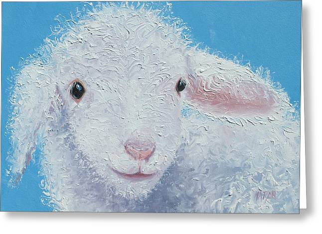 Country Cottage Greeting Cards - Baby Lamb Greeting Card by Jan Matson