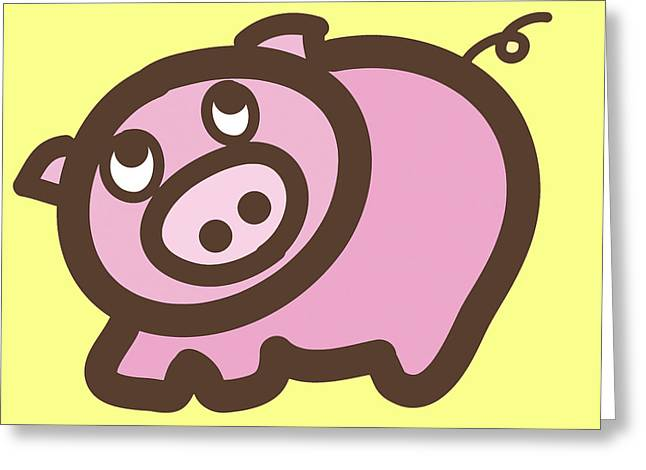 Piglets Digital Greeting Cards - Baby Pig Art for the nursery Greeting Card by Nursery Art