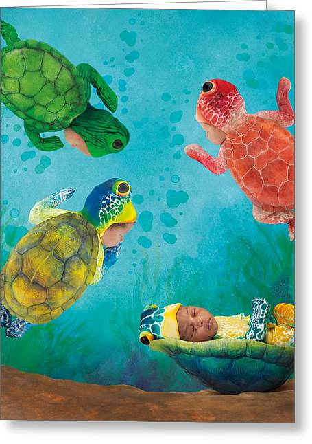 Green Turtle Greeting Cards - Baby Turtles Greeting Card by Anne Geddes