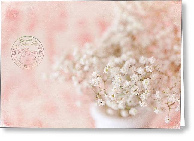 Textured Floral Greeting Cards - Babys Breath Greeting Card by June Marie Sobrito