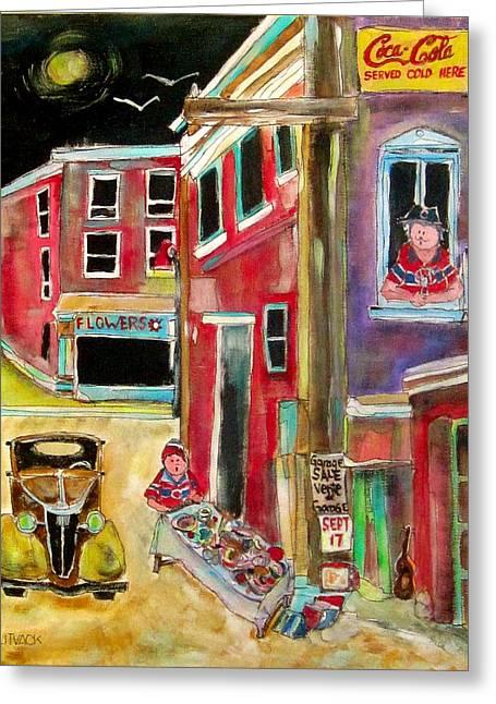 Michael Litvack Greeting Cards - Back Lane Garage Sale Greeting Card by Michael Litvack