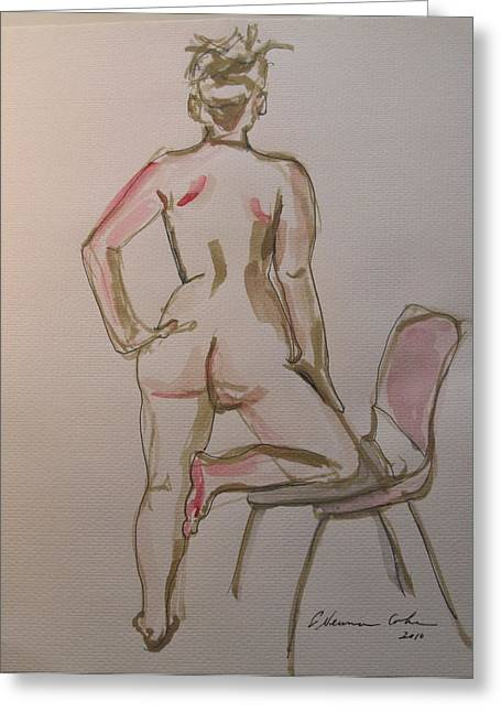 Posters Of Nudes Paintings Greeting Cards - Back of Nude Leaning on a Chair Greeting Card by Esther Newman-Cohen