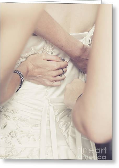 Back Of Wedding Dress With Helping Hands Of Bridesmaids Greeting Card by Jorgo Photography - Wall Art Gallery