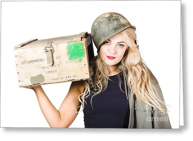 Fortitude Greeting Cards - Backup pinup girl wearing army helmet and supplies Greeting Card by Ryan Jorgensen