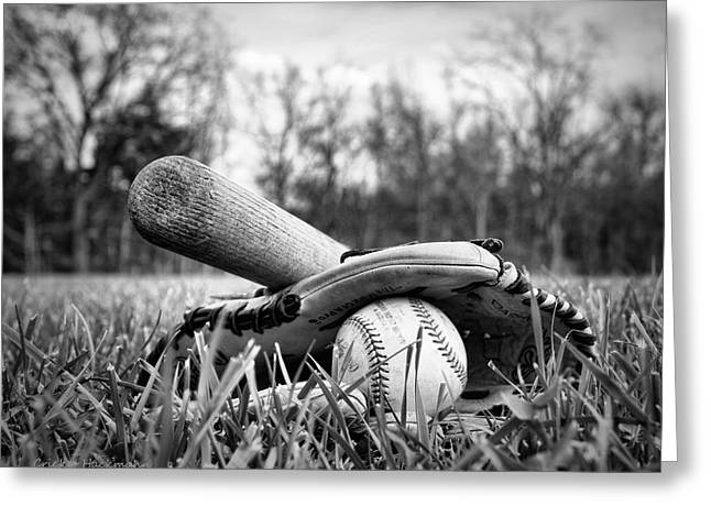 Rawlings Greeting Cards - Backyard Baseball Memories Greeting Card by Cricket Hackmann