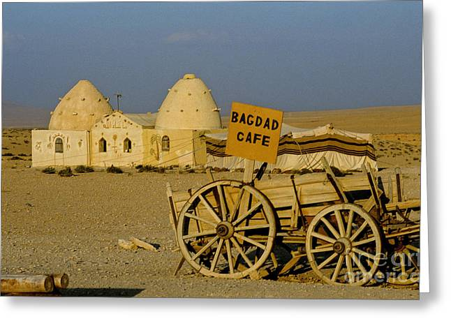 Baghdad Greeting Cards - Bagdad Cafe Sign, Syria Greeting Card by Adam Sylvester