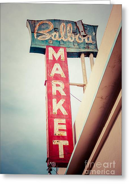 Balboa Market Sign Newport Beach Photo Greeting Card by Paul Velgos