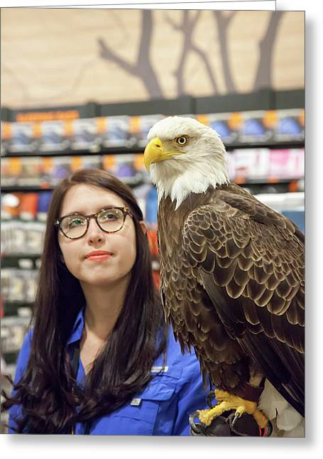 Bald Eagle With Handler Greeting Card by Jim West
