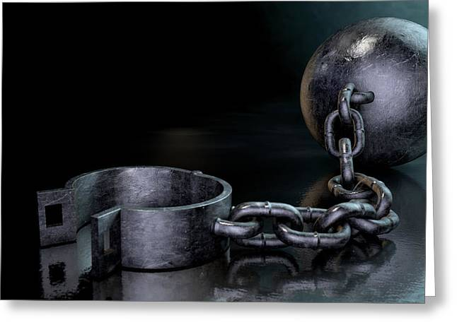 Impairment Greeting Cards - Ball And Chain Dark Greeting Card by Allan Swart