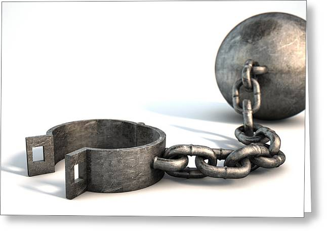 Impairment Greeting Cards - Ball And Chain Isolated Greeting Card by Allan Swart