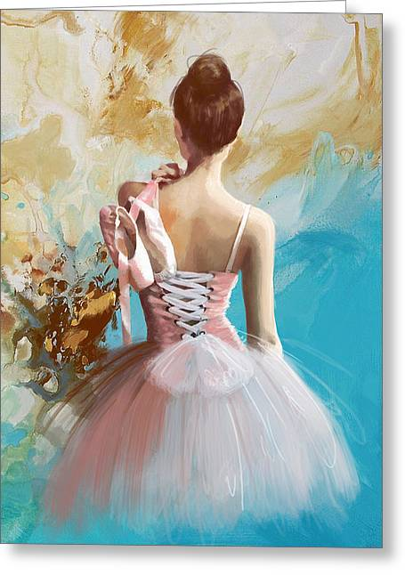 Ballet Dancers Paintings Greeting Cards - Ballerinas Back Greeting Card by Corporate Art Task Force