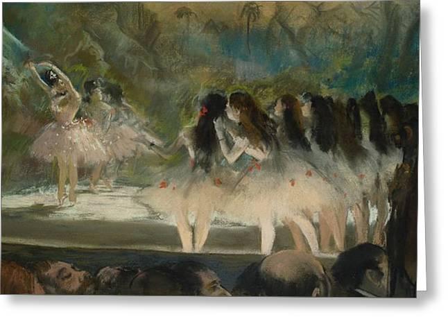 Ballet At The Paris Opera Greeting Card by Edgar Degas