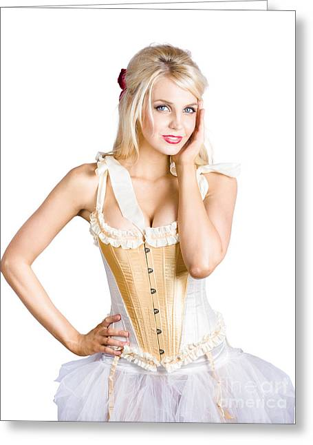 Hand On Face Greeting Cards - Ballet dancer in corset dress Greeting Card by Ryan Jorgensen