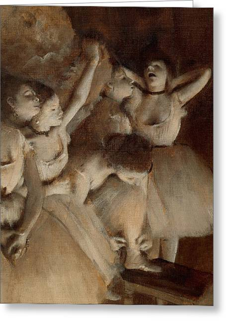 France 1874-1886 Greeting Cards - Ballet rehearsal on stage Greeting Card by Edgar Degas