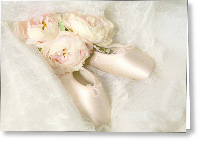 Dance Ballet Roses Greeting Cards - Ballet Shoes Greeting Card by Theresa Tahara