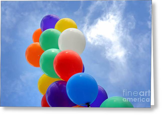 Cloud Greeting Cards - Balloons Against a Cloudy Sky Greeting Card by Amy Cicconi