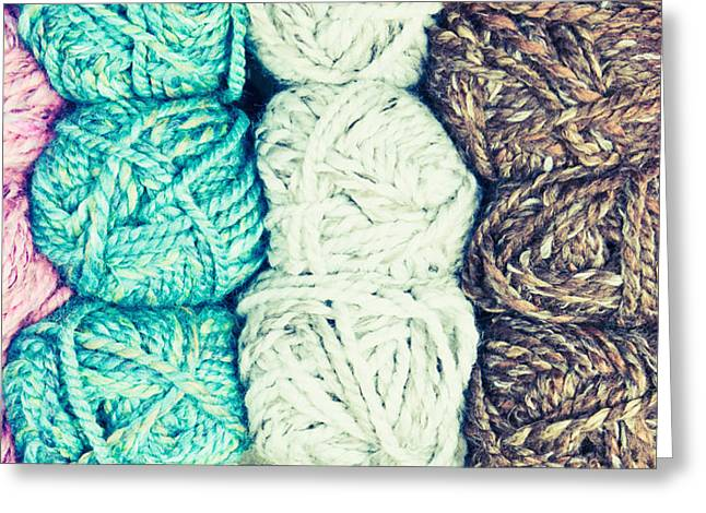 Turquoise And Brown Greeting Cards - Balls of wool Greeting Card by Tom Gowanlock