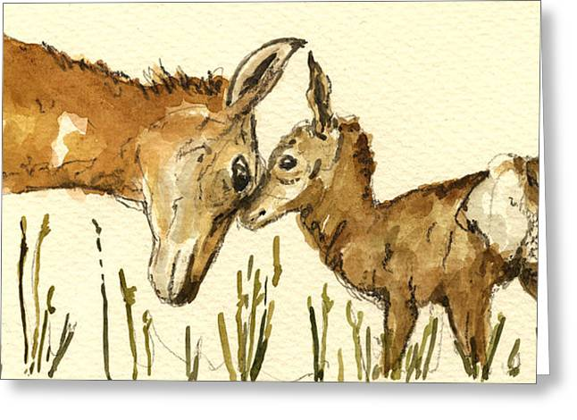 Wildlife Watercolor Greeting Cards - Bambi deer Greeting Card by Juan  Bosco