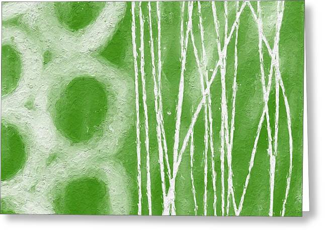 Abstract Shapes Greeting Cards - Bamboo Greeting Card by Linda Woods