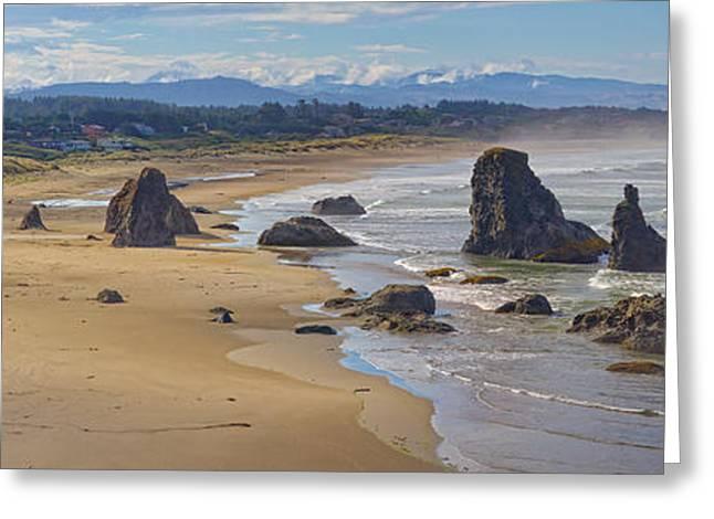Beach Landscape Tapestries - Textiles Greeting Cards - Bandon Beach Landscape Greeting Card by Dennis Bucklin