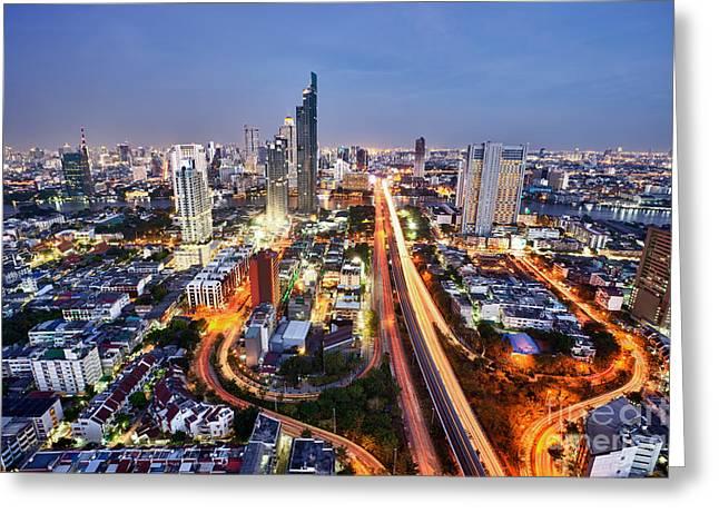Vertigo Greeting Cards - Bangkok City night skyline Greeting Card by Fototrav Print