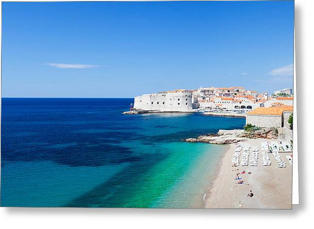 Dubrovnik Greeting Cards - Banje Beach With Old Town Of Dubrovnik Greeting Card by Panoramic Images