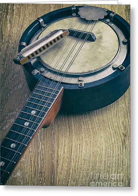 Mandolin Greeting Cards - Banjo and Harp Greeting Card by Carlos Caetano