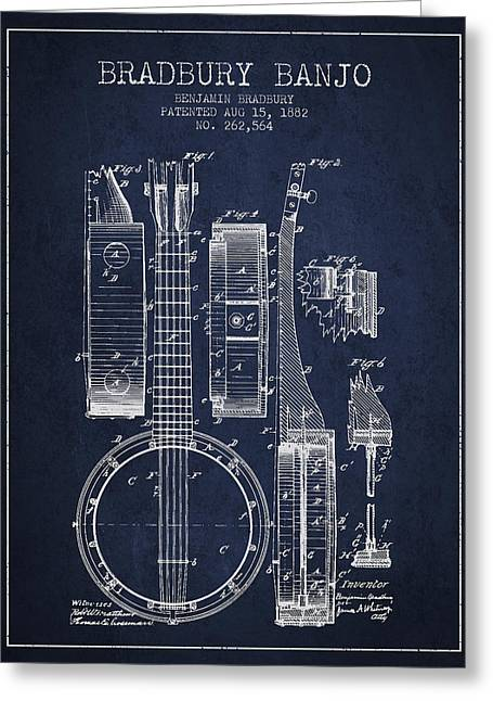 String Instrument Greeting Cards - Banjo patent Drawing from 1882 - Blue Greeting Card by Aged Pixel
