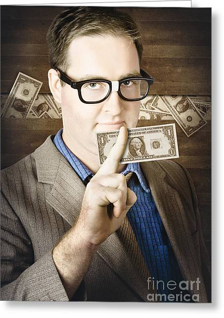 Young Money Greeting Cards - Banking business man with American money Greeting Card by Ryan Jorgensen