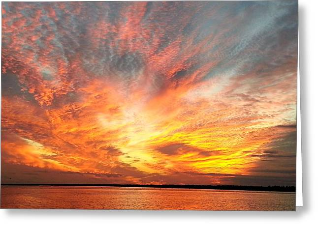 Saltlife Greeting Cards - Masonboro Inlet Sunset Greeting Card by Karen Rhodes