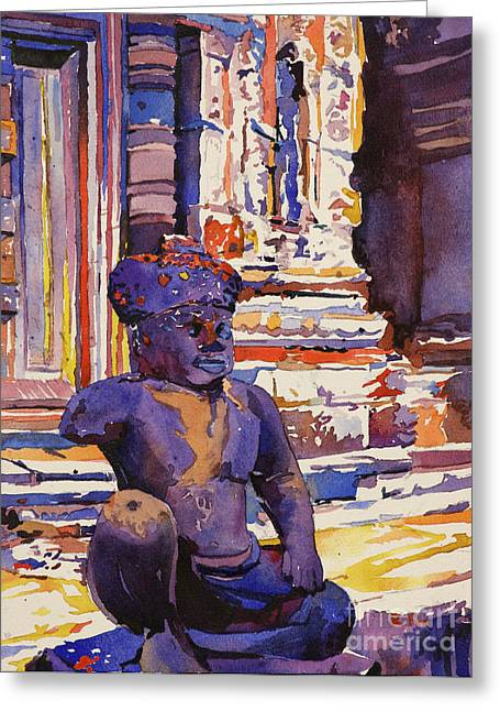 Art Reproduction Greeting Cards - Banteay Srei Statue Greeting Card by Ryan Fox
