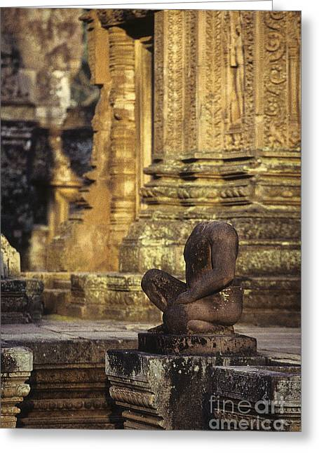 Ancient Ruins Greeting Cards - Banteay Srei temple Angkor Wat ruins  Cambodia Greeting Card by Ryan Fox