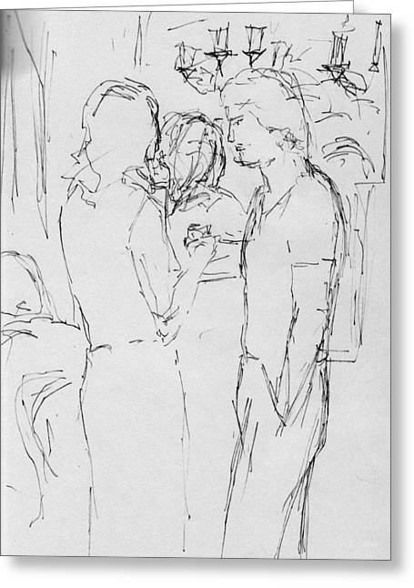 Sketchbook Greeting Cards - Bar Scene 1 Greeting Card by Phil Welsher