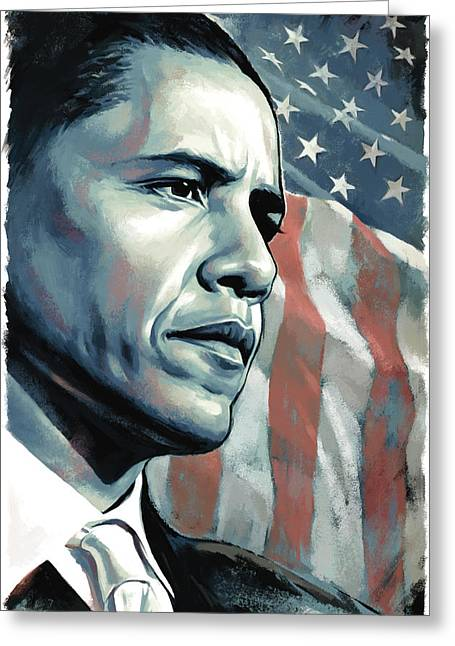 Barack Obama Prints Greeting Cards - Barack Obama Artwork 2 Greeting Card by Sheraz A