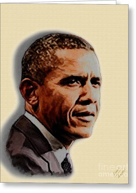 Barack Greeting Cards - Barack Obama Greeting Card by Charles Thayer