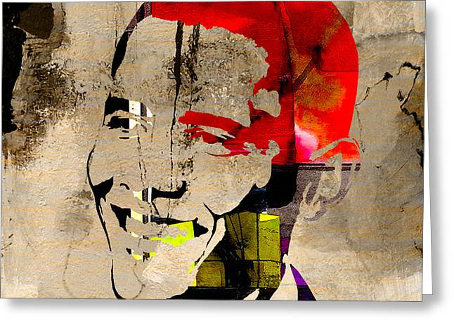 Obama Portrait Mixed Media Greeting Cards - Barack Obama Greeting Card by Marvin Blaine