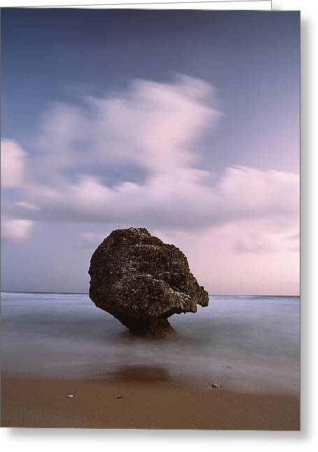 Surf Silhouette Greeting Cards - Barbados, Strange Shaped Rock Greeting Card by Ian Cumming