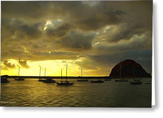 Boats In Morro Bay Greeting Cards - Painting Sunset In A Storm Greeting Card by Barbara Snyder